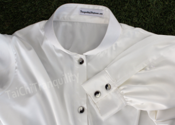 Beautiful flowing off white silk shirt for Tai Chi and meditation