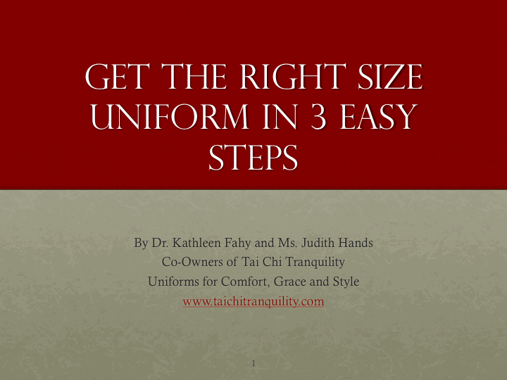 Find the right size Tai Chi uniform